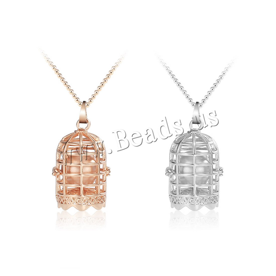 Buy Fashion Locket Necklace Zinc Alloy ABS Plastic Pearl & iron chain 5cm extender chain plated ball chain & woman & hollow colors choice lead & cadmium free 38x24mm Sold Per Approx 17.5 Inch Strand