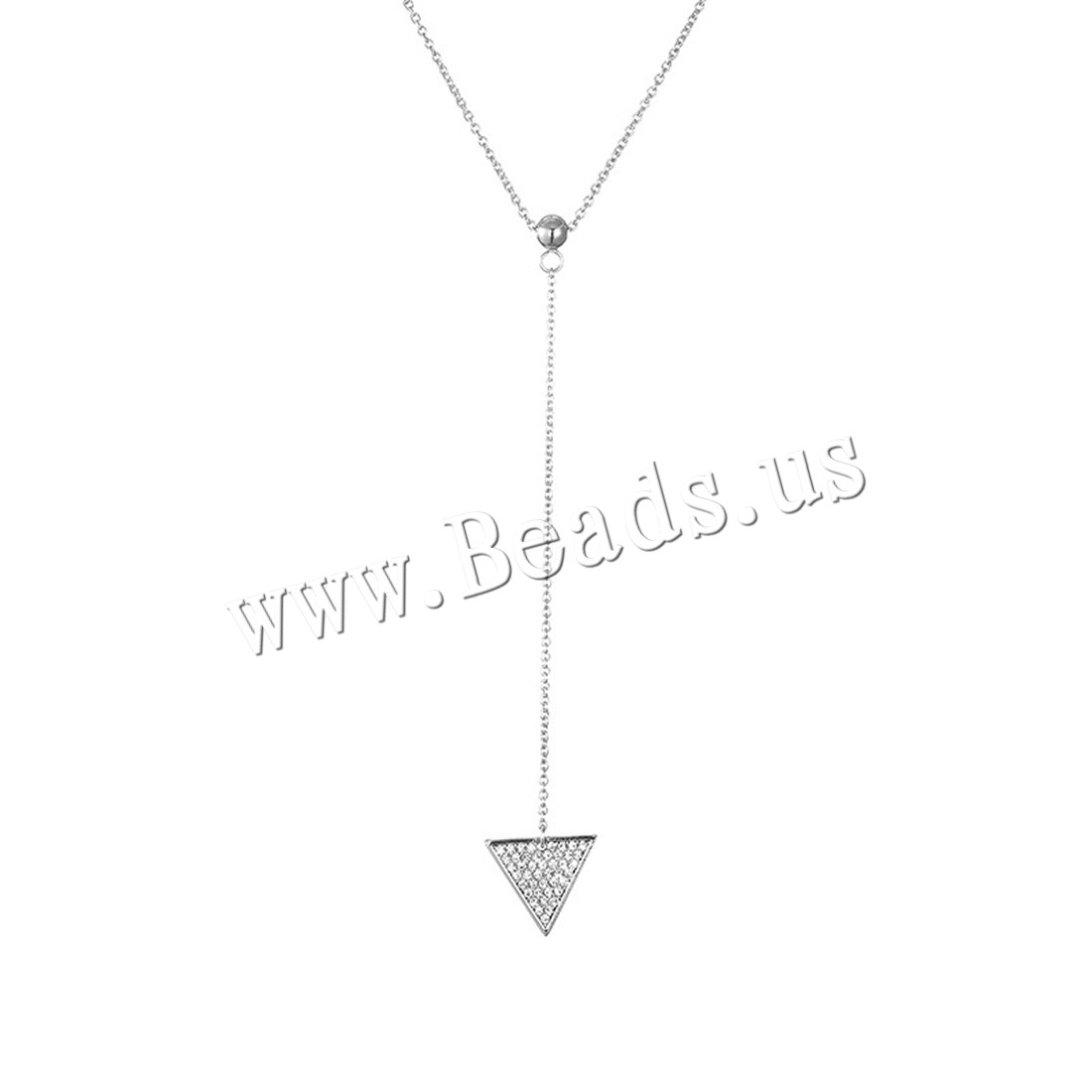 Buy Zinc Alloy Jewelry Necklace iron chain 5cm extender chain Triangle platinum color plated oval chain & woman & rhinestone lead & cadmium free 15x17mm Sold Per Approx 17.5 Inch Strand