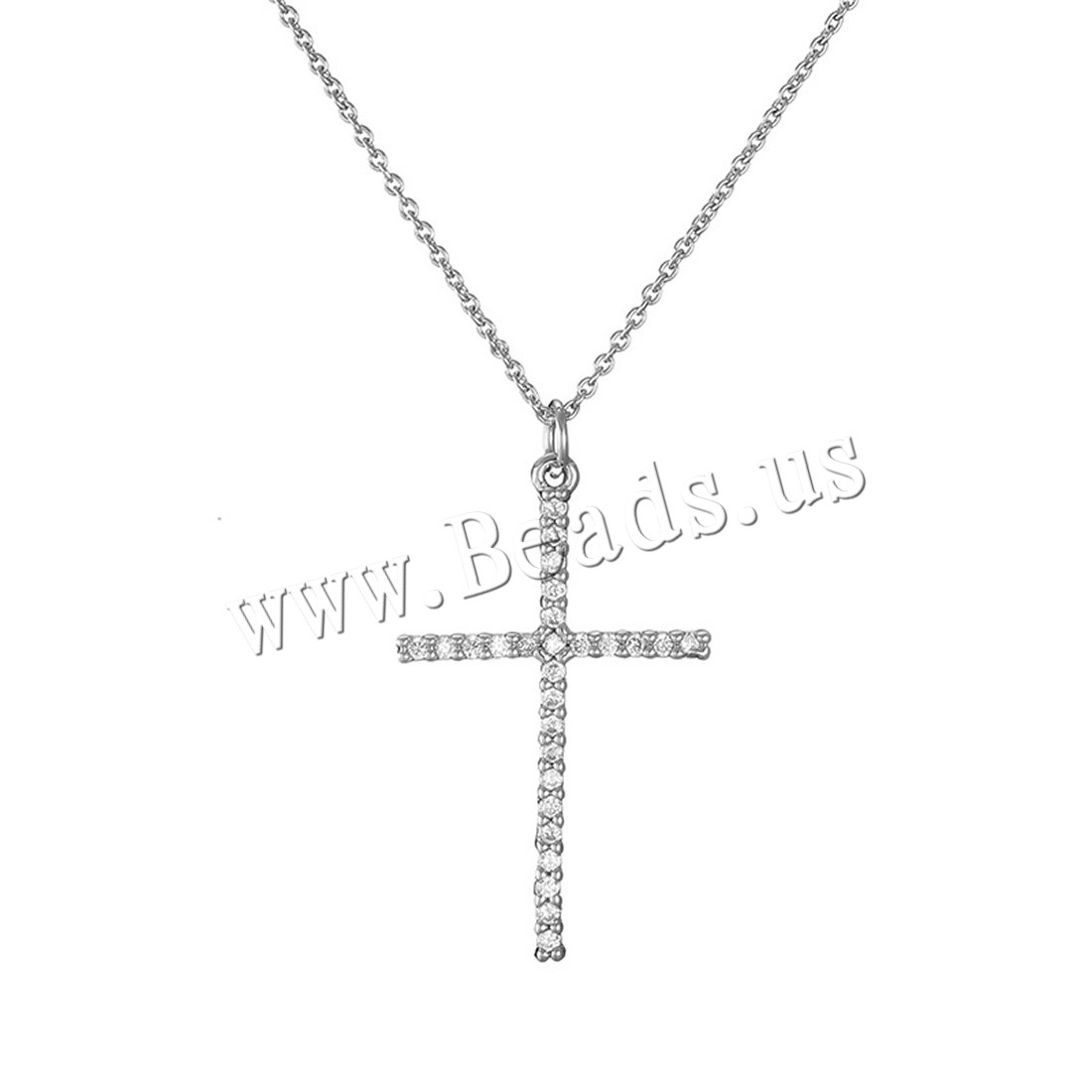 Buy Zinc Alloy Jewelry Necklace iron chain 5cm extender chain Cross platinum color plated oval chain & woman & rhinestone lead & cadmium free 27x17mm Sold Per Approx 15.5 Inch Strand