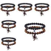 Holz Armband-Set, mit Nylonschnur & Kristall & Edelstahl, für Frau & facettierte, keine, 8mm, Länge:ca. 7 ZollInch, 2SträngeStrang/setzen, verkauft von setzen