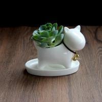 Blumentopf, Porzellan, mit Eisen-Glocke & Nylonschnur, Hund, 120mm, verkauft von PC