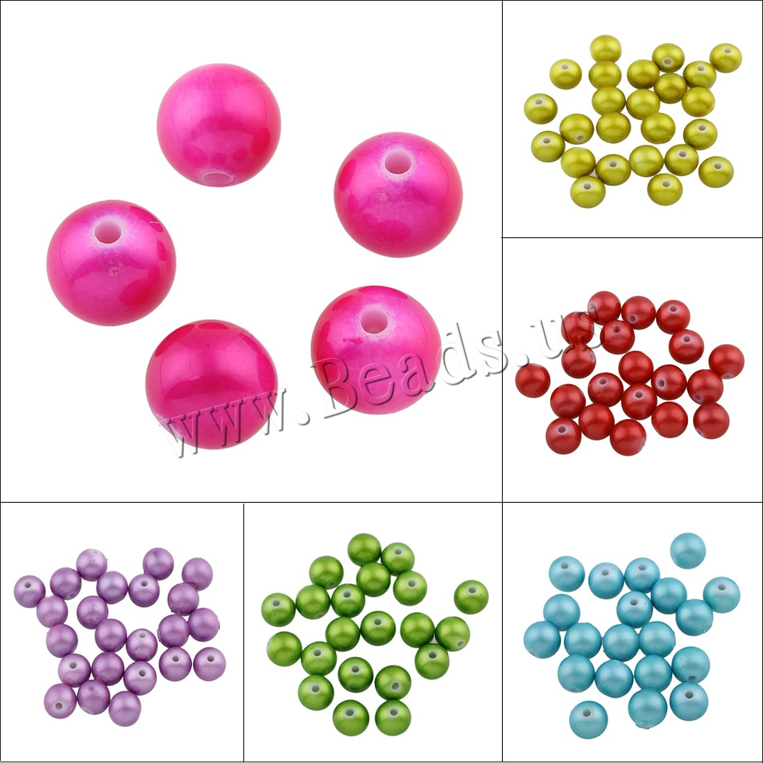 Buy Acrylic Jewelry Beads Round painted colors choice 12mm Hole:Approx 2mm Approx 500PCs/Bag Sold Bag