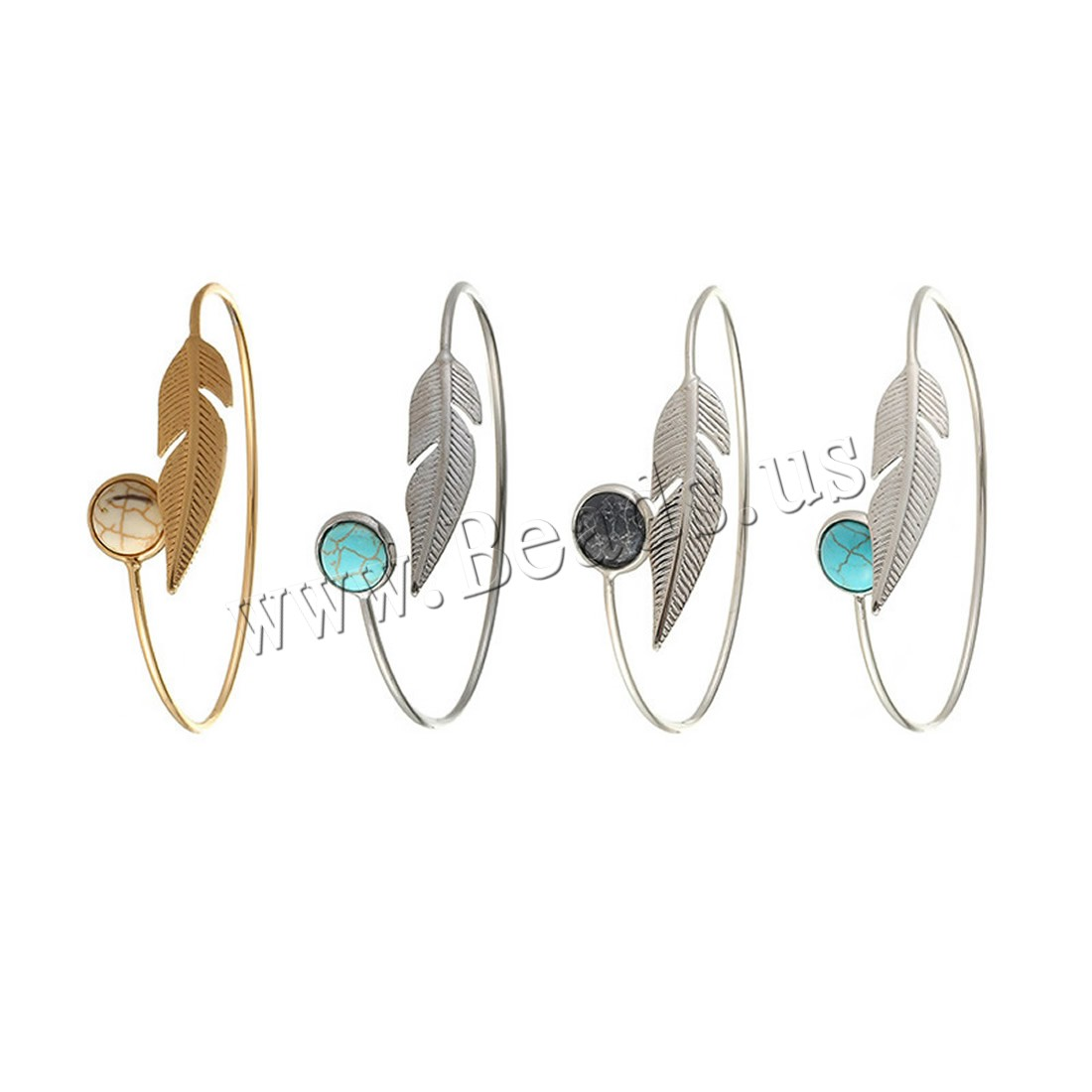 Buy Zinc Alloy Bangle Turquoise Leaf plated adjustable & woman colors choice lead & cadmium free 17mm Inner Diameter:Approx 61mm Length:Approx 7.5 Inch Sold PC