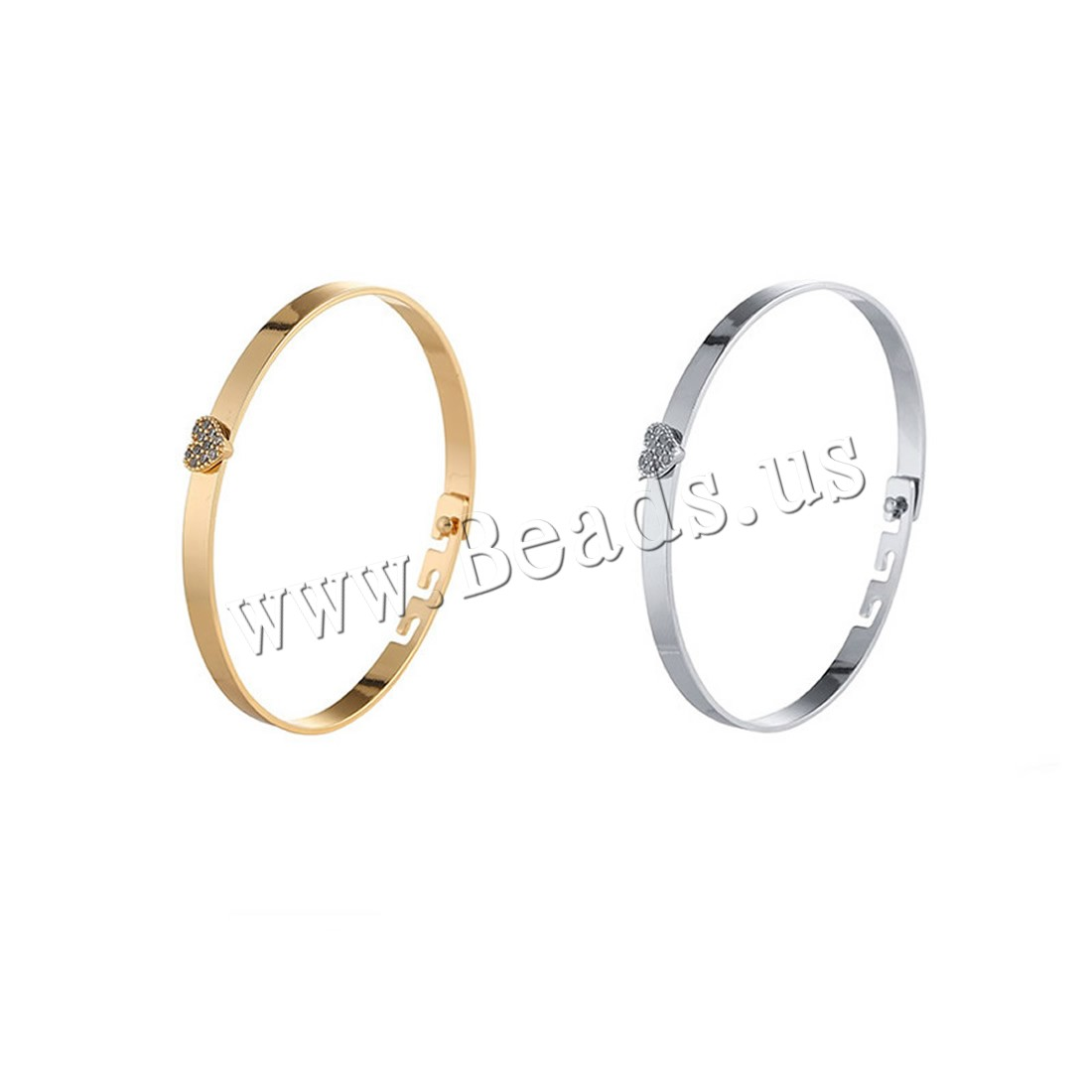 Buy Zinc Alloy Bangle Heart plated adjustable & woman & rhinestone colors choice lead & cadmium free 7mm Inner Diameter:Approx 62mm Length:Approx 7.5 Inch Sold PC
