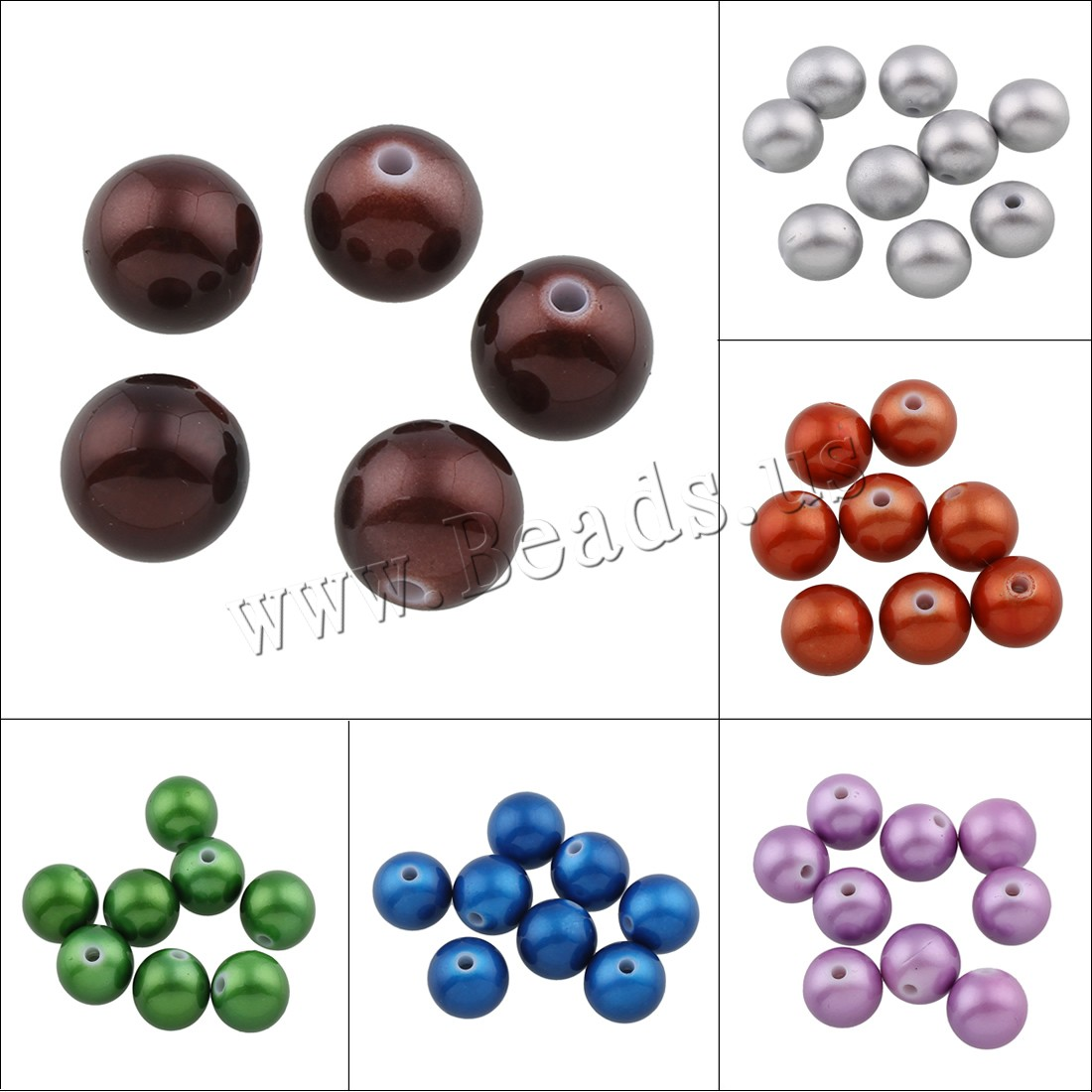 Buy Acrylic Jewelry Beads Round painted colors choice 16mm Hole:Approx 2.5mm Approx 210PCs/Bag Sold Bag