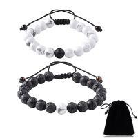 Edelstein Woven Ball Armbänder, Nylonschnur, mit Lava & Synthetische Türkis, verschiedenen Materialien für die Wahl & unisex & einstellbar, frei von Nickel, Blei & Kadmium, 10mm, verkauft per ca. 7.4-11 ZollInch Strang