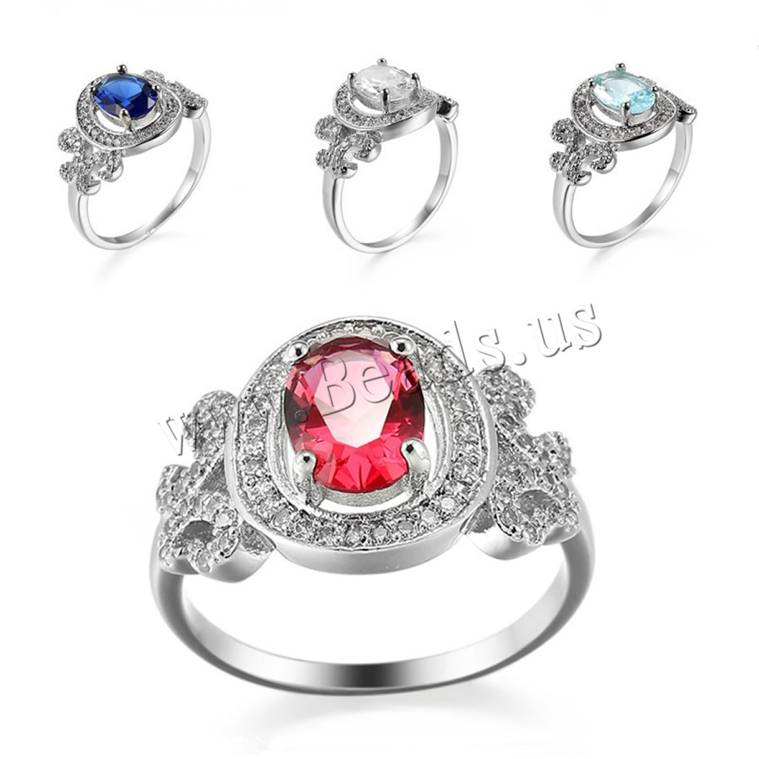 Buy Cubic Zircon Brass Finger Ring platinum plated Unisex & different size choice & cubic zirconia colors choice nickel lead & cadmium free Sold PC