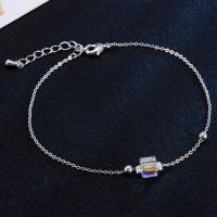Eisen-Fußkette, Kristall, mit Eisenkette, Platinfarbe platiniert, Oval-Kette & für Frau, 20.0x6.0cm, verkauft per ca. 7.5 ZollInch Strang