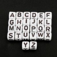 Alphabet Acryl Perlen, Würfel, Buchstaben sind von A bis Z & verschiedene Muster für Wahl, 6x6x6mm, Bohrung:ca. 3mm, ca. 2800PCs/Tasche, verkauft von Tasche