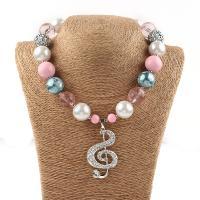 Acryl Halskette, mit Zinklegierung, mit Verlängerungskettchen von 5cm, Musiknote, Platinfarbe platiniert, für Kinder & mit Strass, 20mm, verkauft per ca. 13.3 ZollInch Strang