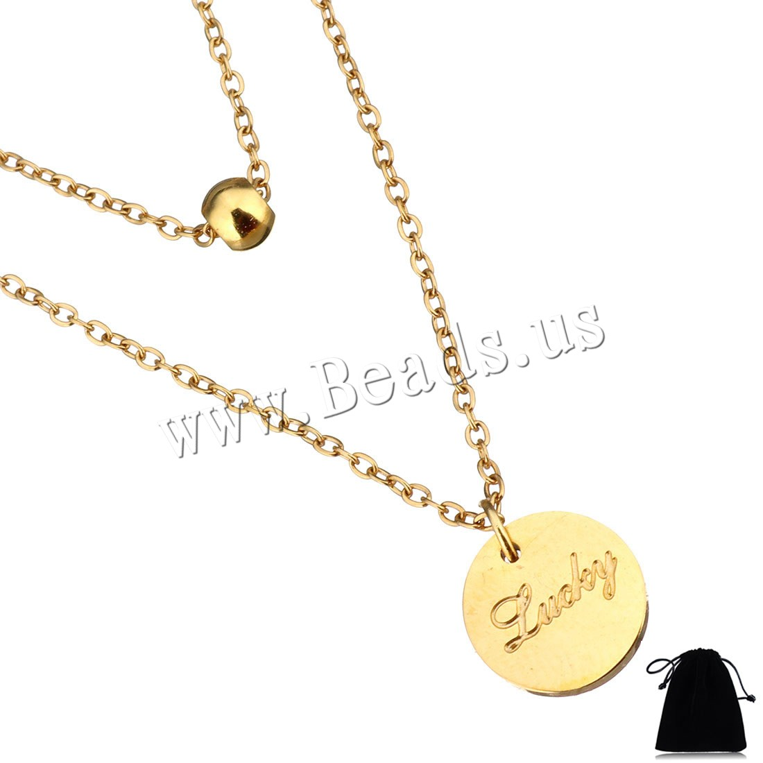 Buy Stainless Steel Jewelry Necklace Velveteen 2Inch extender chain Flat Round word lucky gold color plated oval chain & woman & 2-strand 9mm 4mm 1mm Sold Per Approx 14 Inch Strand