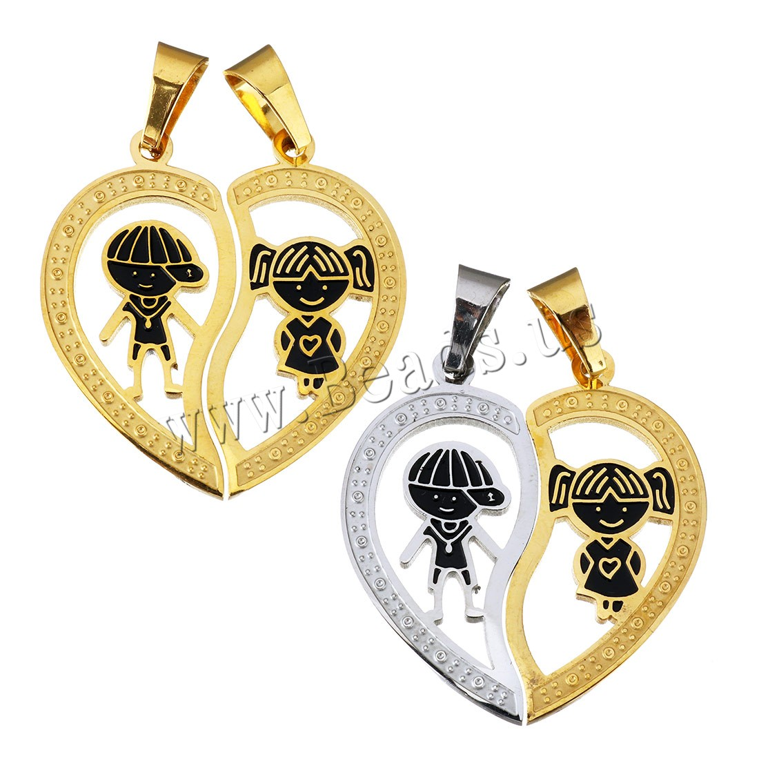 Buy Stainless Steel Puzzle Couple Pendant Heart plated enamel colors choice 16x34x6.5mm 16x34x6.5mm Hole:Approx 5.5x9mm Sold Lot