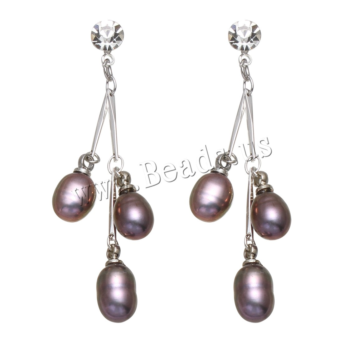 Buy Freshwater Pearl Drop Earring Brass platinum color plated woman & rhinestone purple 6-7mm 39-42mm Sold Pair