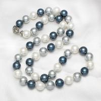 South Sea Shell Pullover Kette Halskette, Südsee Muschel, Messing Fold Over Verschluss, rund, für Frau, 12mm, verkauft per ca. 26 ZollInch Strang