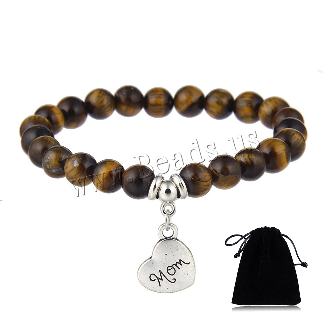 Buy Natural Stone Bracelet Zinc Alloy Heart word mom platinum color plated charm bracelet & Mother Day Jewelry & different materials choice & woman 8mm 14x14mm Sold Per Approx 7.5 Inch Strand