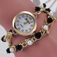 Geneva® Frauenuhr, Zinklegierung, mit ABS-Kunststoff-Perlen & Glas, goldfarben plattiert, für Frau, 28mm, Länge:ca. 9.4 ZollInch, verkauft von PC