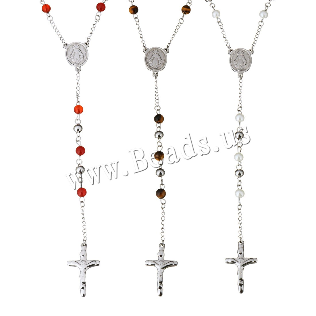 Buy Stainless Steel Sweater Chain Necklace 1Inch extender chain Crucifix Cross different materials choice & woman original color 17x22mm 19.5x32mm 6mm Sold Per Approx 26 Inch Strand