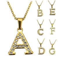 Edelstahl Schmuck Halskette, Buchstabe, goldfarben plattiert, Oval-Kette & verschiedene Stile für Wahl & für Frau & mit Strass, 7-21x19-22mm, 2mm, verkauft per ca. 18 ZollInch Strang
