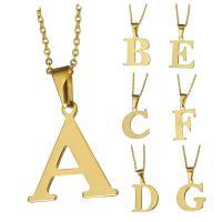 Edelstahl Schmuck Halskette, mit Verlängerungskettchen von 1Inch, Buchstabe, goldfarben plattiert, Oval-Kette & verschiedene Stile für Wahl & für Frau, 12-36x23-36mm, 2mm, verkauft per ca. 18 ZollInch Strang