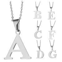Edelstahl Schmuck Halskette, mit Verlängerungskettchen von 1Inch, Buchstabe, Oval-Kette & verschiedene Stile für Wahl & für Frau, originale Farbe, 12-36x23-36mm, 2mm, verkauft per ca. 18 ZollInch Strang