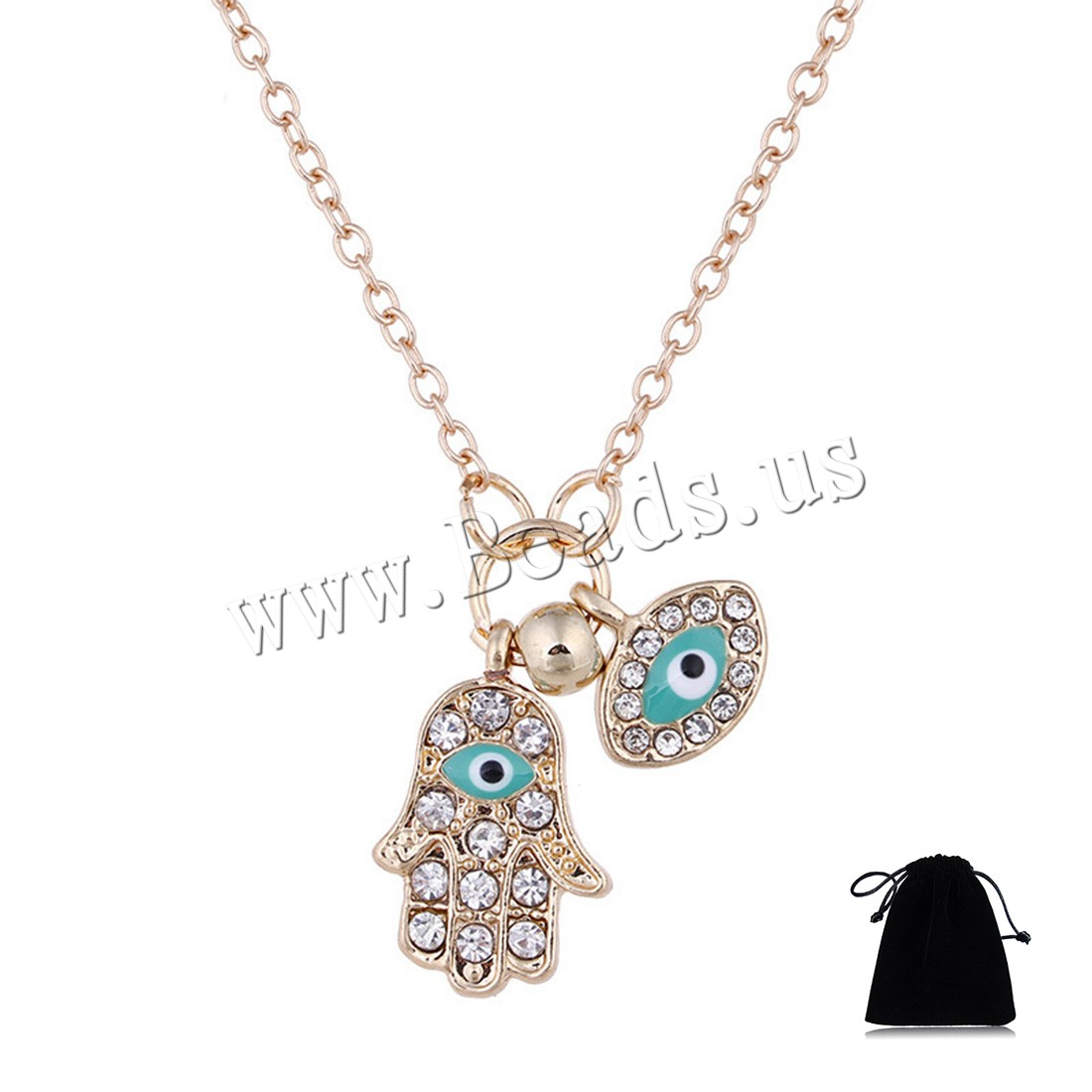 Buy Evil Eye Jewelry Necklace Zinc Alloy 1.96inch extender chain Hamsa plated evil eye pattern & oval chain & woman & enamel & rhinestone colors choice nickel lead & cadmium free 12x17mm Sold Per Approx 18.5 Inch Strand