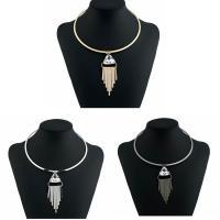 Kragen Halskette, Zinklegierung, mit Glas, plattiert, für Frau & facettierte, keine, frei von Blei & Kadmium, 450mm, verkauft von Paar