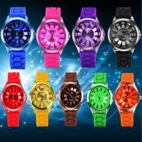 Geneva® Unisex Uhr, Silikon, mit Glas & Zinklegierung, plattiert, keine, 40x10mm, Länge:ca. 9.8 ZollInch, verkauft von PC