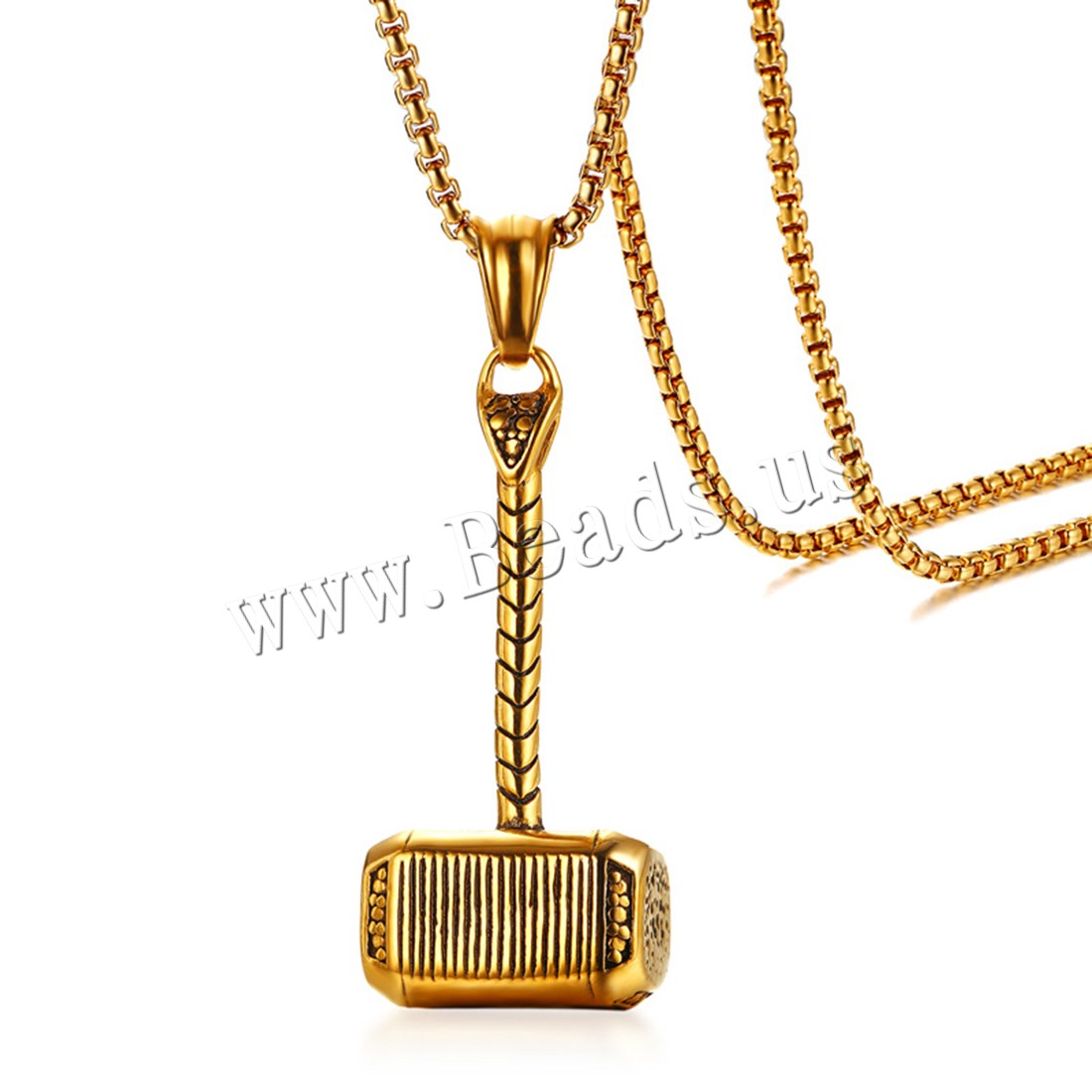 Buy Stainless Steel Sweater Chain Necklace Hammer Thor gold color plated box chain & man 3mm 19.5x45.6mm Sold Per Approx 23.6 Inch Strand