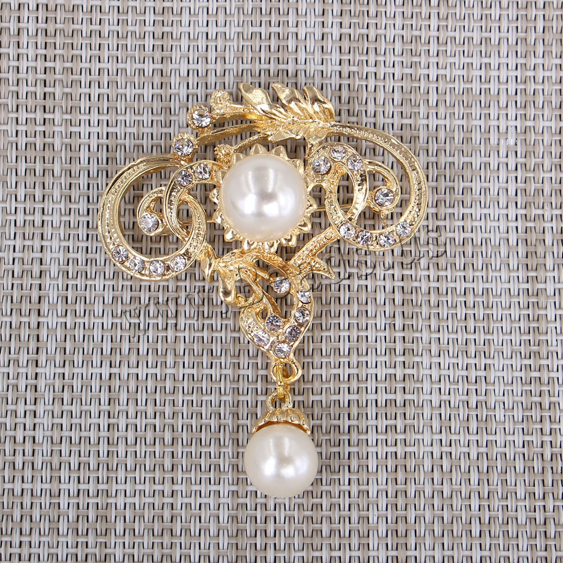 Buy Plastic Pearl Brooch Zinc Alloy Plastic Pearl gold color plated woman & rhinestone 52x60mm Sold PC