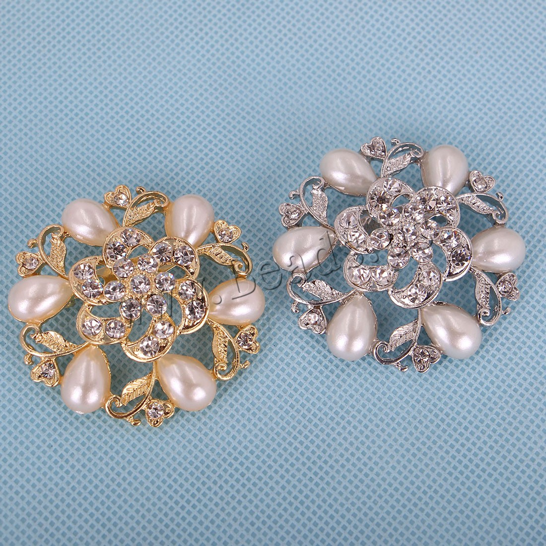 Buy Plastic Pearl Brooch Zinc Alloy Plastic Pearl Flower plated woman & rhinestone colors choice 52x52mm Sold PC