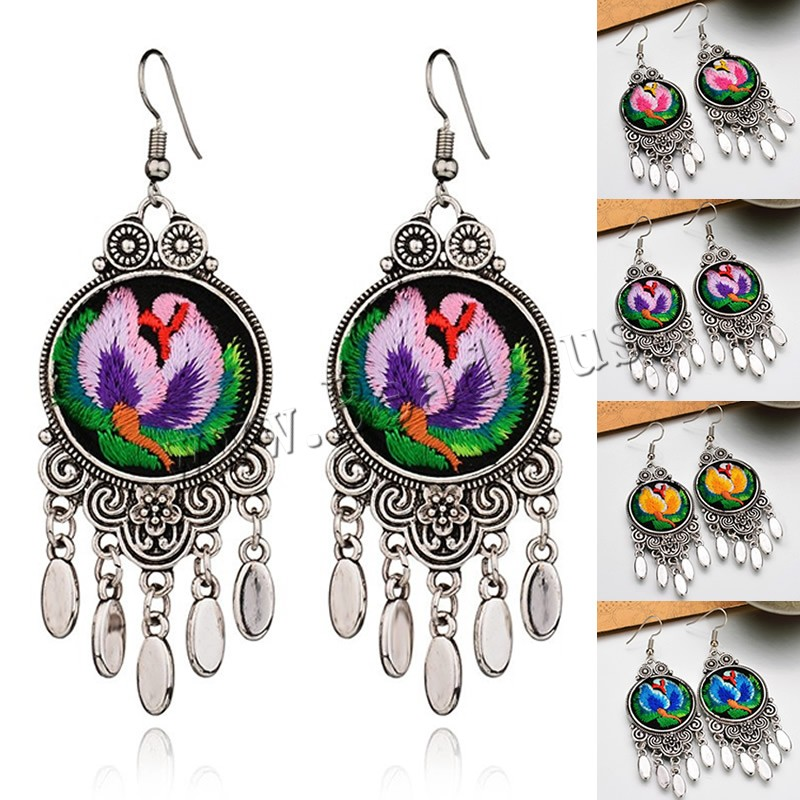 Buy Zinc Alloy Drop Earring Cloth iron earring hook Flower antique silver color plated embroidered & handmade colors choice lead & cadmium free 28x75mm Sold Pair