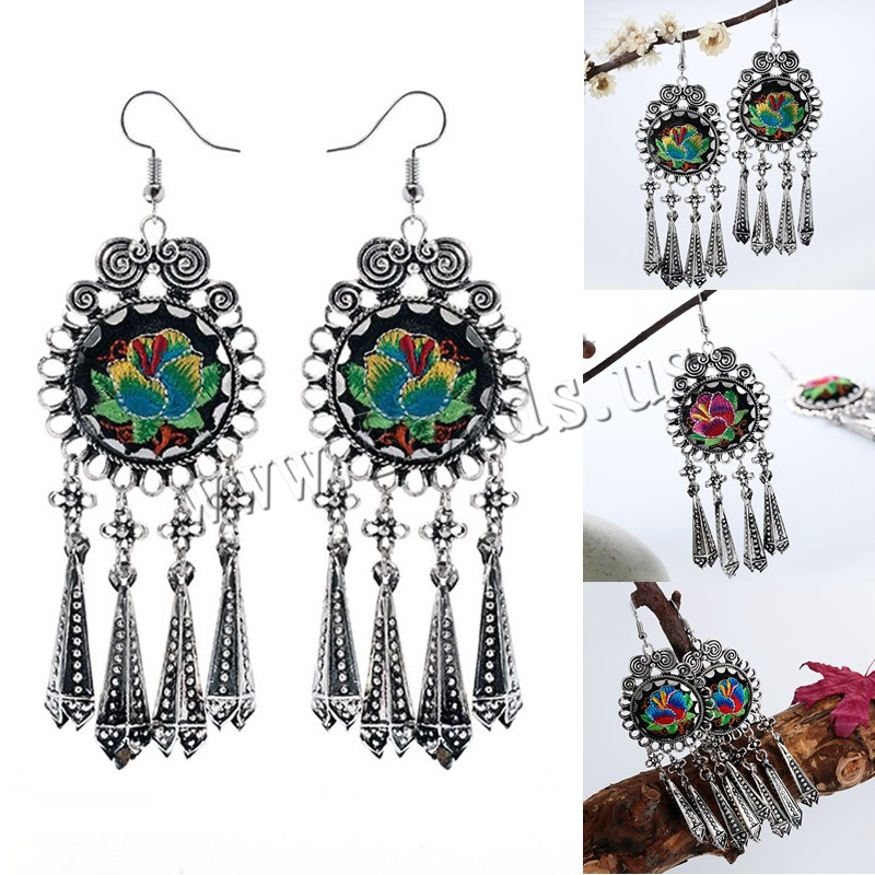 Buy Zinc Alloy Drop Earring Cloth iron earring hook Flower antique silver color plated embroidered & handmade colors choice lead & cadmium free 37x105mm Sold Pair
