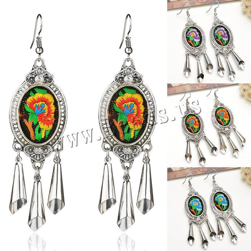 Buy Zinc Alloy Drop Earring Cloth iron earring hook antique silver color plated embroidered & handmade colors choice lead & cadmium free 24x85mm Sold Pair
