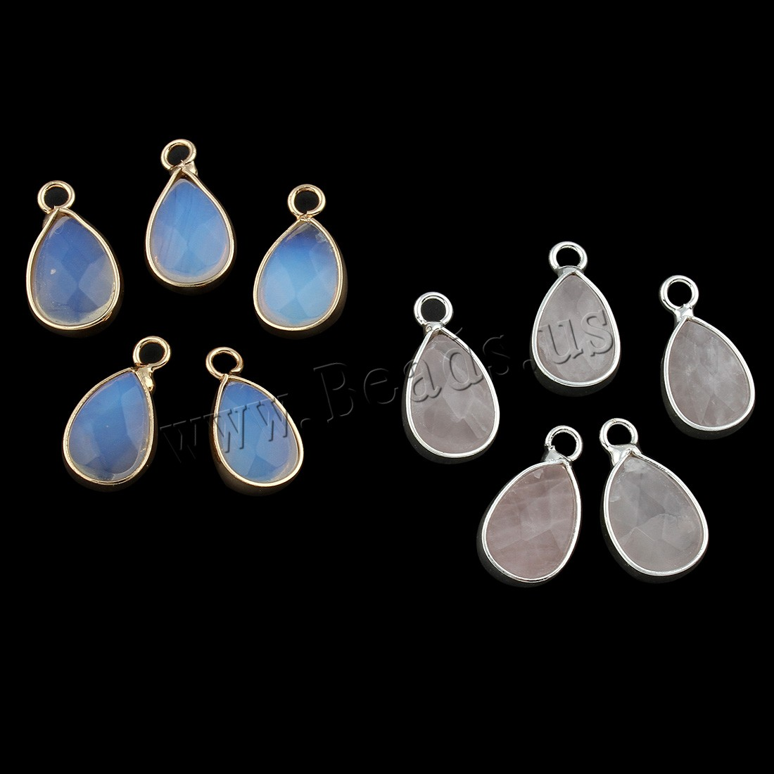 Buy Gemstone Pendants Jewelry Zinc Alloy Teardrop different materials choice & faceted 9x17x5mm Hole:Approx 2mm 5PCs/Bag Sold Bag