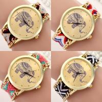 Geneva® Frauenuhr, Wolle, mit Glas, goldfarben plattiert, handgefertigt & für Frau, keine, 40mm, Länge:ca. 9.8 ZollInch, verkauft von PC