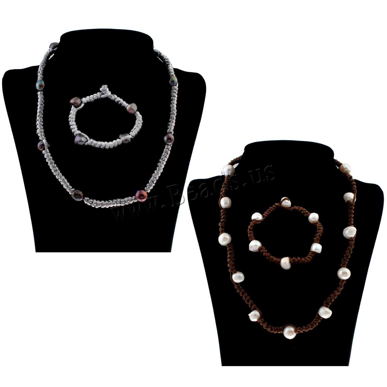 Buy Freshwater Pearl Jewelry Set bracelet & necklace Nylon Cord different styles choice & woman 10-13mm Length:Approx 7.5 Inch Approx 21 Inch Sold Set