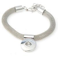 Snap-Knopf-Armband, Zinklegierung, silberfarben plattiert, für Frau, frei von Blei & Kadmium, 12mm, Länge:ca. 7 ZollInch, 10StrangStrang/Tasche, verkauft von Tasche