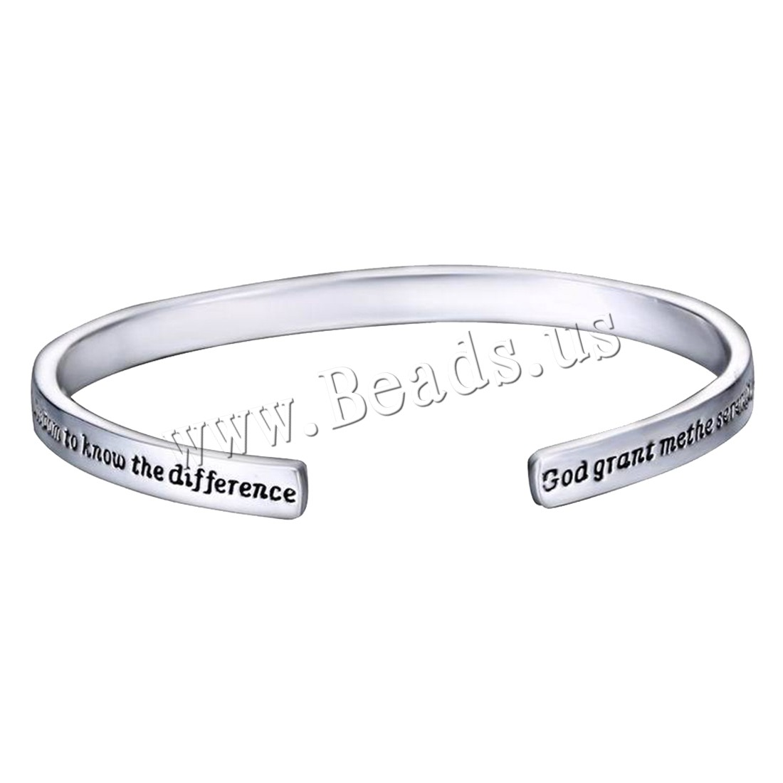 Buy Zinc Alloy Cuff Bangle platinum color plated letter pattern & woman & enamel nickel lead & cadmium free 5mm Inner Diameter:Approx 57mm Sold PC