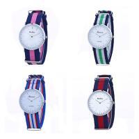 Geneva® Unisex Uhr, Segeltuch, mit Glas, silberfarben plattiert, Streifen, keine, 40mm, Länge:ca. 9.4 ZollInch, verkauft von PC