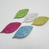 Haarschmuck DIY Ergebnisse, Baumwolle, mit Kunststoff Pailletten, Blatt, für Kinder & buntes Pulver, keine, 27x55mm, 50PCs/Menge, verkauft von Menge