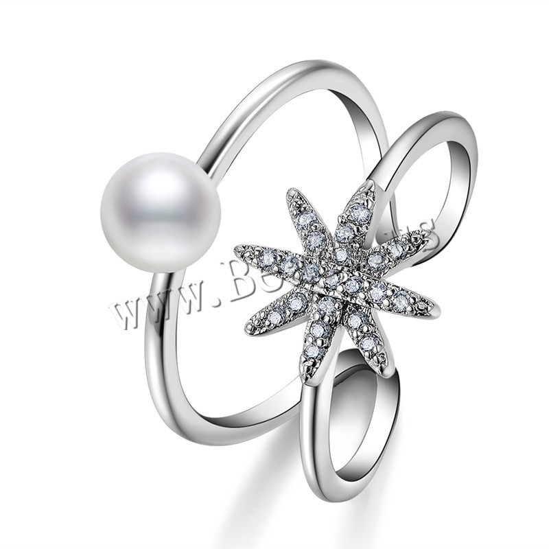 Buy Brass Finger Ring ABS Plastic Pearl Flower platinum plated woman & rhinestone nickel lead & cadmium free 18mm US Ring Size:7.5 Sold PC