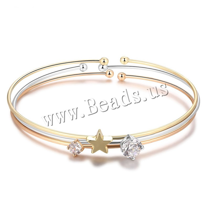 Buy Brass Cuff Bangle plated woman & rhinestone nickel lead & cadmium free 7mm Inner Diameter:Approx 60mm Length:Approx 7 Inch Sold PC