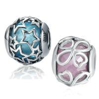 925 Sterlingsilber European Perlen, 925 Sterling Silber, mit Glas, verschiedene Stile für Wahl & ohne troll & facettierte, Bohrung:ca. 4.5-5mm, verkauft von PC