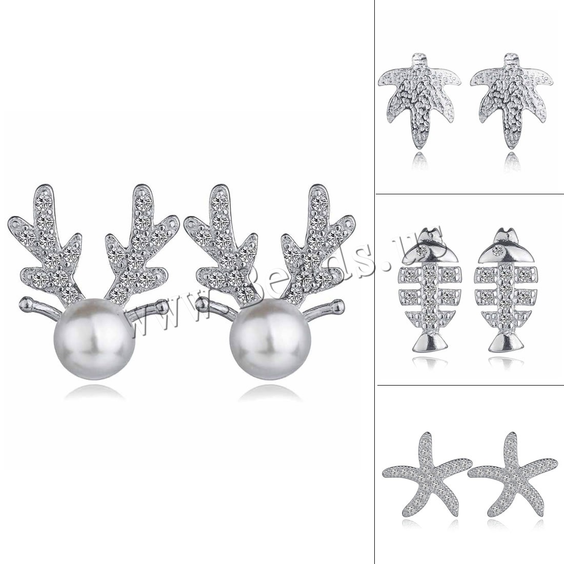 Buy Brass Stud Earring ABS Plastic Pearl silver color plated different styles choice & woman & rhinestone nickel lead & cadmium free 6x11mm 8x9mm 9x13mm 12x12mm Sold Pair