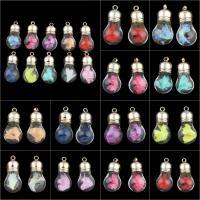 Glas Anhänger, mit Seidenspinnerei & Strass & Messing, Glühbirne, goldfarben plattiert, keine, 17x37x17mm, Bohrung:ca. 2mm, verkauft von PC