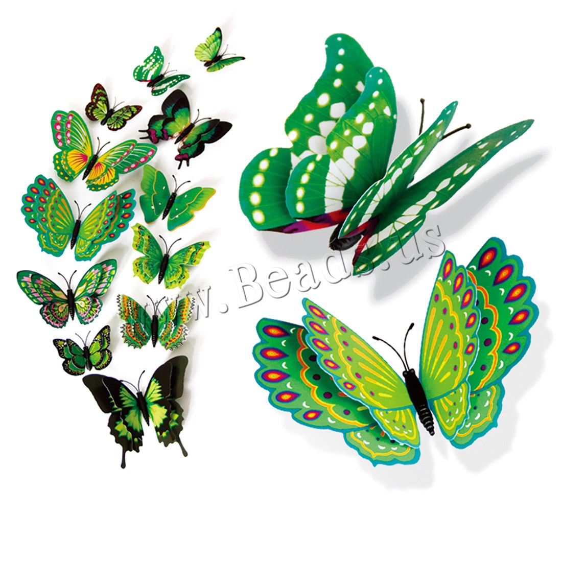 Buy 3D Wall Stickers PVC Plastic Butterfly adhesive & 3D effect & waterproof colors choice 60mm 80mm 10mm 12mm 12PCs/Set Sold Set