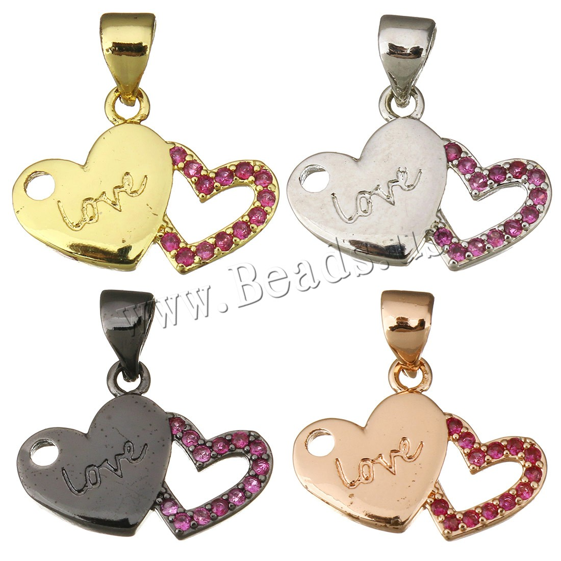 Buy Cubic Zirconia Micro Pave Brass Pendant Heart word love plated micro pave cubic zirconia colors choice 17x12.50x2mm Hole:Approx 3.5x4.5mm 2 Sold Lot