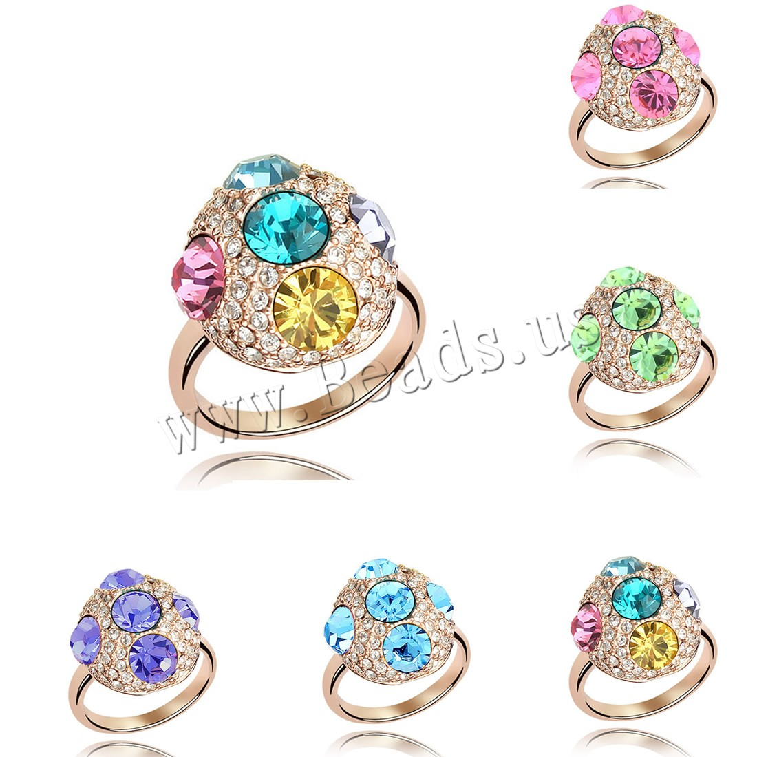 Buy CRYSTALLIZED™ Element Crystal Finger Ring Brass CRYSTALLIZED™ Flat Round real rose gold plated woman & faceted colors choice nickel lead & cadmium free 16mm US Ring Size:6-9 Sold PC