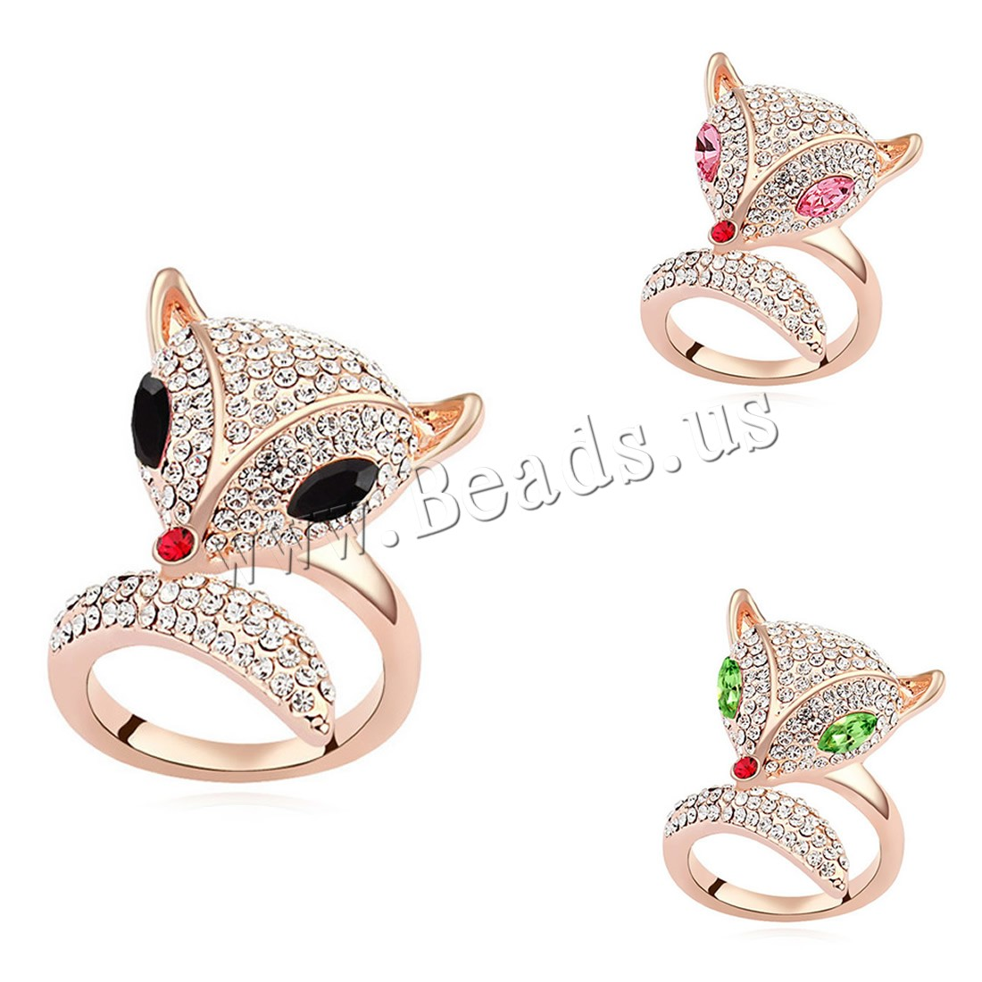 Buy CRYSTALLIZED™ Element Crystal Finger Ring Brass CRYSTALLIZED™ Fox real rose gold plated woman & faceted colors choice nickel lead & cadmium free 16mm US Ring Size:6-9 Sold PC
