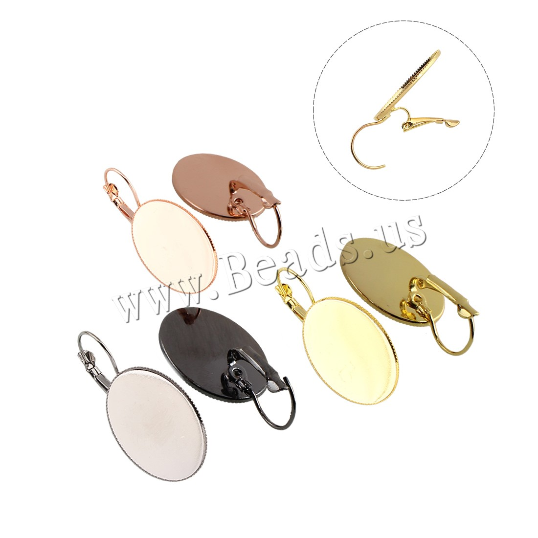 Buy Brass Lever Back Earring Component Oval plated colors choice nickel lead & cadmium free 19x36x13mm Inner Diameter:Approx 18x25mm 20PCs/Bag Sold Bag
